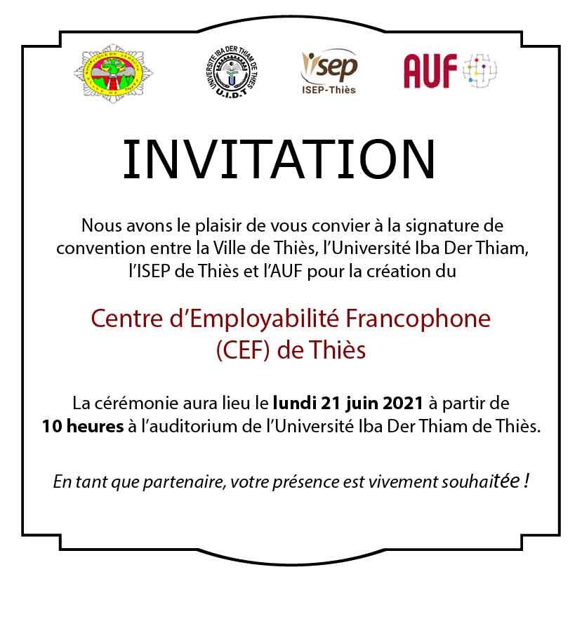 Lancement du Centre d'Employabilité Francophone de Thiès le lundi 21 juin 2021 à 10h00 à l'auditorium de l'Université de Thiès